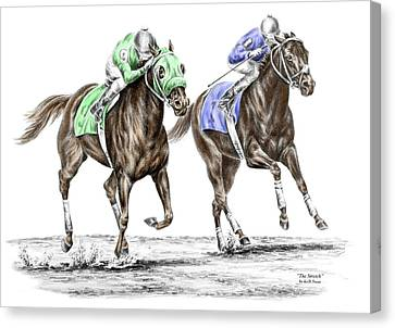 The Stretch - Tb Horse Racing Print Color Tinted Canvas Print by Kelli Swan