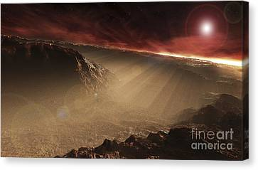 The Sun Rises Over Gale Crater, Mars Canvas Print by Steven Hobbs