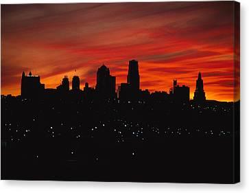 The Sun Rises Over The Skyline Canvas Print by Stephen Alvarez