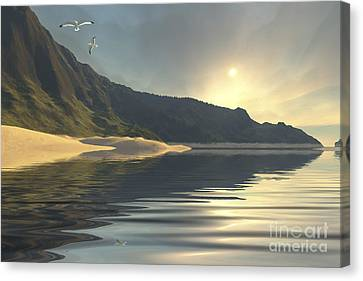 Flying Seagull Canvas Print - The Sun Sets On A Beautiful by Corey Ford