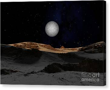 The Surface Of Pluto With Charon Canvas Print by Ron Miller