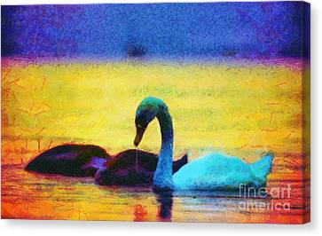 The Swan Family Canvas Print by Odon Czintos