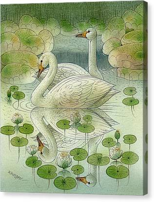 the Swans Canvas Print by Kestutis Kasparavicius