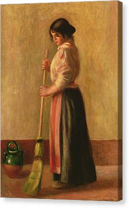 The Sweeper Canvas Print by Pierre Auguste Renoir