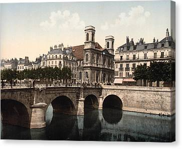 The Swing Bridge And Madeleine Church In Besancon - Doubs - France Canvas Print by International  Images