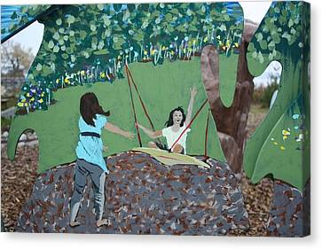 Canvas Print featuring the painting The Swing by Jan Swaren