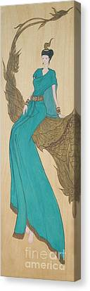 The Thai Traditional Contemporary Drawing Fairy Tale On Wood Canvas Print by Ittipon Kongsua