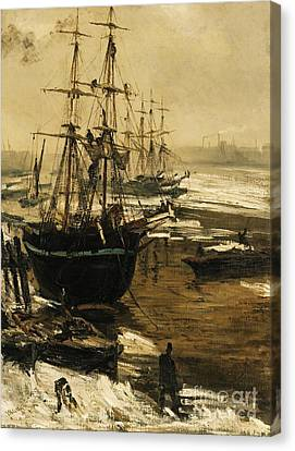 The Thames In Ice Canvas Print by Pg Reproductions