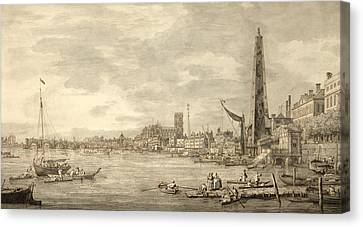 The Thames Looking Towards Westminster From Near York Water Gate  Canvas Print by Giovanni Antonio Canaletto