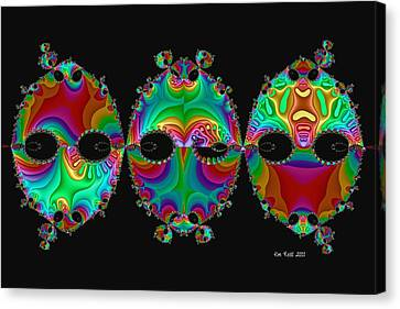 Canvas Print featuring the digital art The Three Amigos by Kim Redd