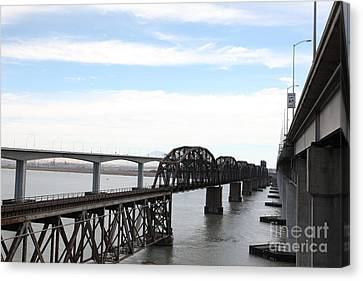 The Three Benicia-martinez Bridges In California - 5d18626 Canvas Print by Wingsdomain Art and Photography