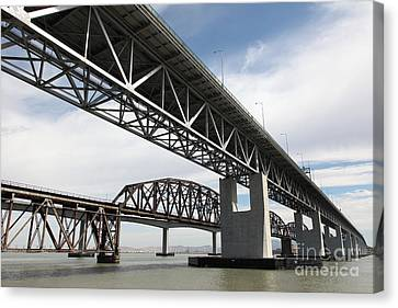 The Three Benicia-martinez Bridges In California - 5d18663 Canvas Print by Wingsdomain Art and Photography