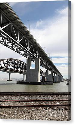The Three Benicia-martinez Bridges In California - 5d18665 Canvas Print by Wingsdomain Art and Photography