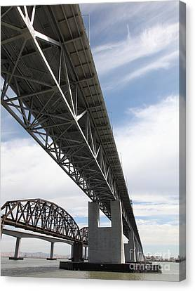 The Three Benicia-martinez Bridges In California - 5d18670 Canvas Print by Wingsdomain Art and Photography