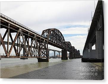 The Three Benicia-martinez Bridges In California - 5d18678 Canvas Print by Wingsdomain Art and Photography