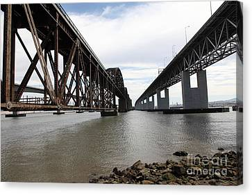 The Three Benicia-martinez Bridges In California - 5d18685 Canvas Print by Wingsdomain Art and Photography