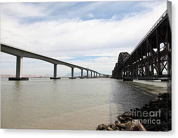 The Three Benicia-martinez Bridges In California - 5d18714 Canvas Print by Wingsdomain Art and Photography