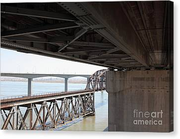 The Three Benicia-martinez Bridges In California - 5d18844 Canvas Print by Wingsdomain Art and Photography