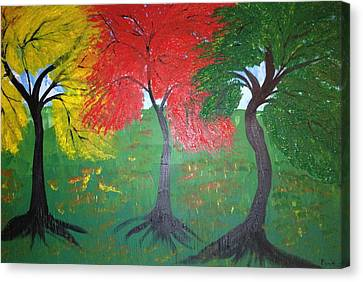 The Three Colours Of Maple Trees Canvas Print by Pretchill Smith