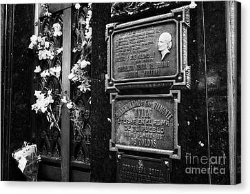 The Tomb Of Evita Peron In Recoleta Cemetery Capital Federal Buenos Aires Republic Of Argentina Canvas Print by Joe Fox