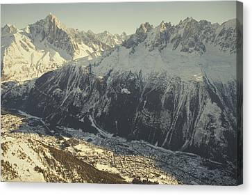The Tourist Resort Of Chamonix Sits Canvas Print by Nicole Duplaix