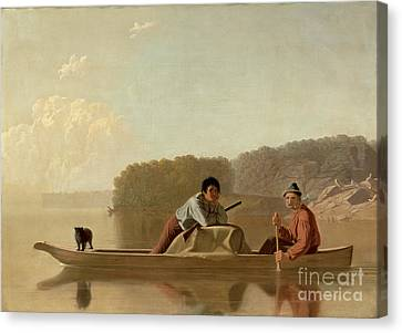 The Trapper's Return Canvas Print by George Caleb Bingham