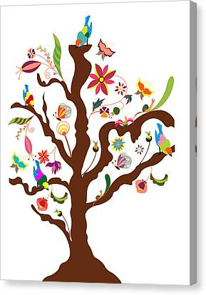 The Tree Of Flowers And Birds Canvas Print