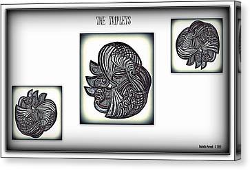 Canvas Print featuring the drawing The Triplets by Danielle  Parent