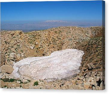 Canvas Print - the un melted snow in Sannir mountains  by Issam Hajjar