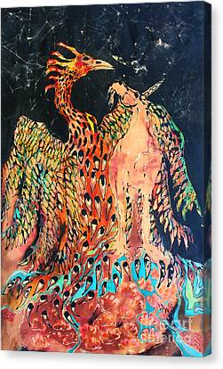 The Unicorn And Phoenix Rise From The Earth Canvas Print by Carol Law Conklin