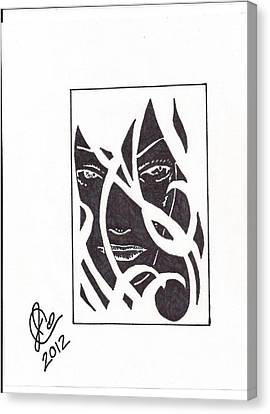 Canvas Print featuring the drawing The Unkown Woman by Jeremiah Colley
