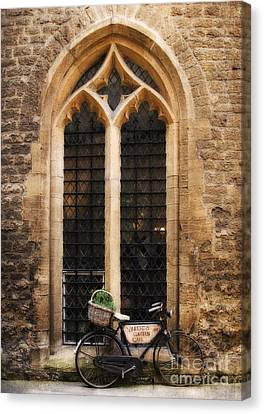 Jay Taylor Canvas Print - The Vaults Garden Cafe Bicycle In Oxford England by Jay Taylor