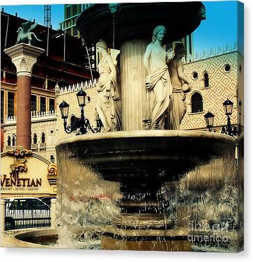 The Venetian Fountain In Las Vegas Canvas Print by Susanne Van Hulst