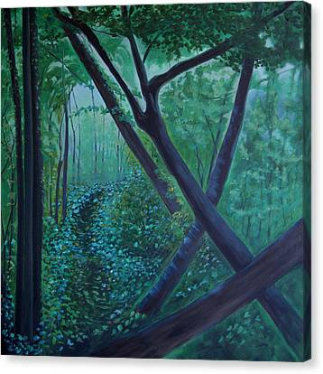 Canvas Print featuring the painting The Very Secret Garden by Tone Aanderaa