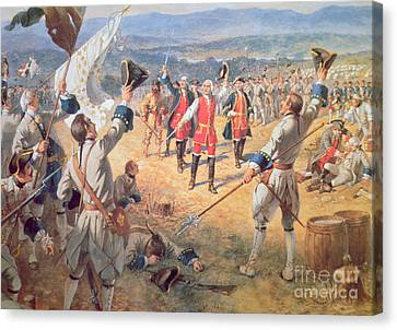 The Victory Of Montcalms Troops At Carillon Canvas Print