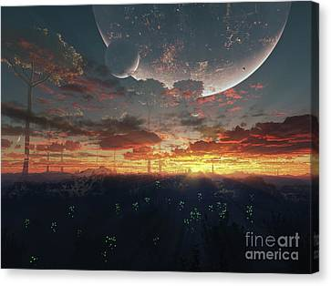 The View From An Alien Moon Towards Canvas Print by Brian Christensen