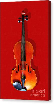 The Violin . Red Version . Painterly Canvas Print by Wingsdomain Art and Photography