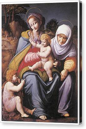 The Virgin And Child Canvas Print by Bachiacca