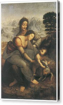The Virgin And Child With Saint Anne Canvas Print by Leonardo Da Vinci