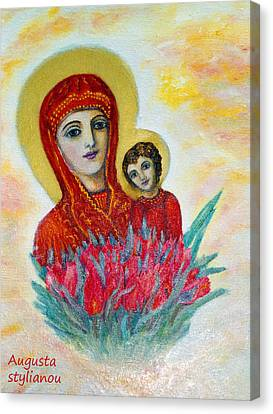 Child Jesus Canvas Print - The Virgin And The Child by Augusta Stylianou