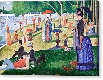 The Virgin Of Guadalupe Takes A Sunday Afternoon Walk Along Seurate's La Grande Jetta  Canvas Print by James Roderick