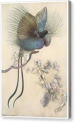 The Water Babies The Most Beuatiful Bird Of Paradise Canvas Print by Warwick Goble