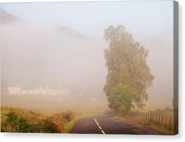 The Way To Never Never Land. Misty Roads Of Scotland Canvas Print by Jenny Rainbow