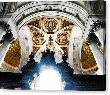 The West Doorway Of St Paul's Cathedral Canvas Print by Steve Taylor