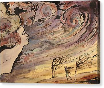Canvas Print featuring the painting The Wind by Valentina Plishchina