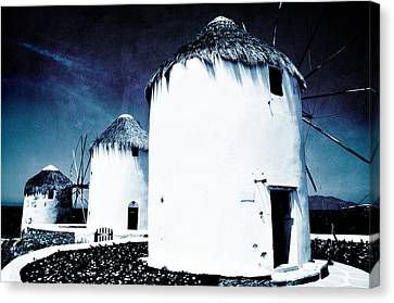 The Windmills Of Mykonos - Textured Blue Canvas Print by Laura Melis