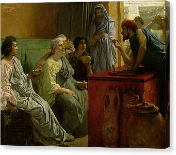 The Wine Shop Canvas Print by Sir Lawrence Alma-Tadema