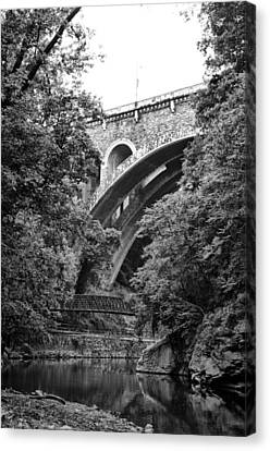 The Wissahickon Creek And Henry Avenue Bridge Canvas Print by Bill Cannon