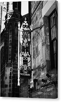 The Witchery Sign Edinburgh Scotland Uk United Kingdom Canvas Print by Joe Fox