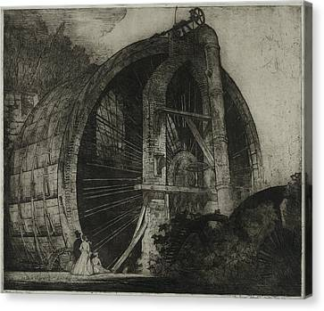 The Worlds Largest Water Wheel Powered Canvas Print by Everett
